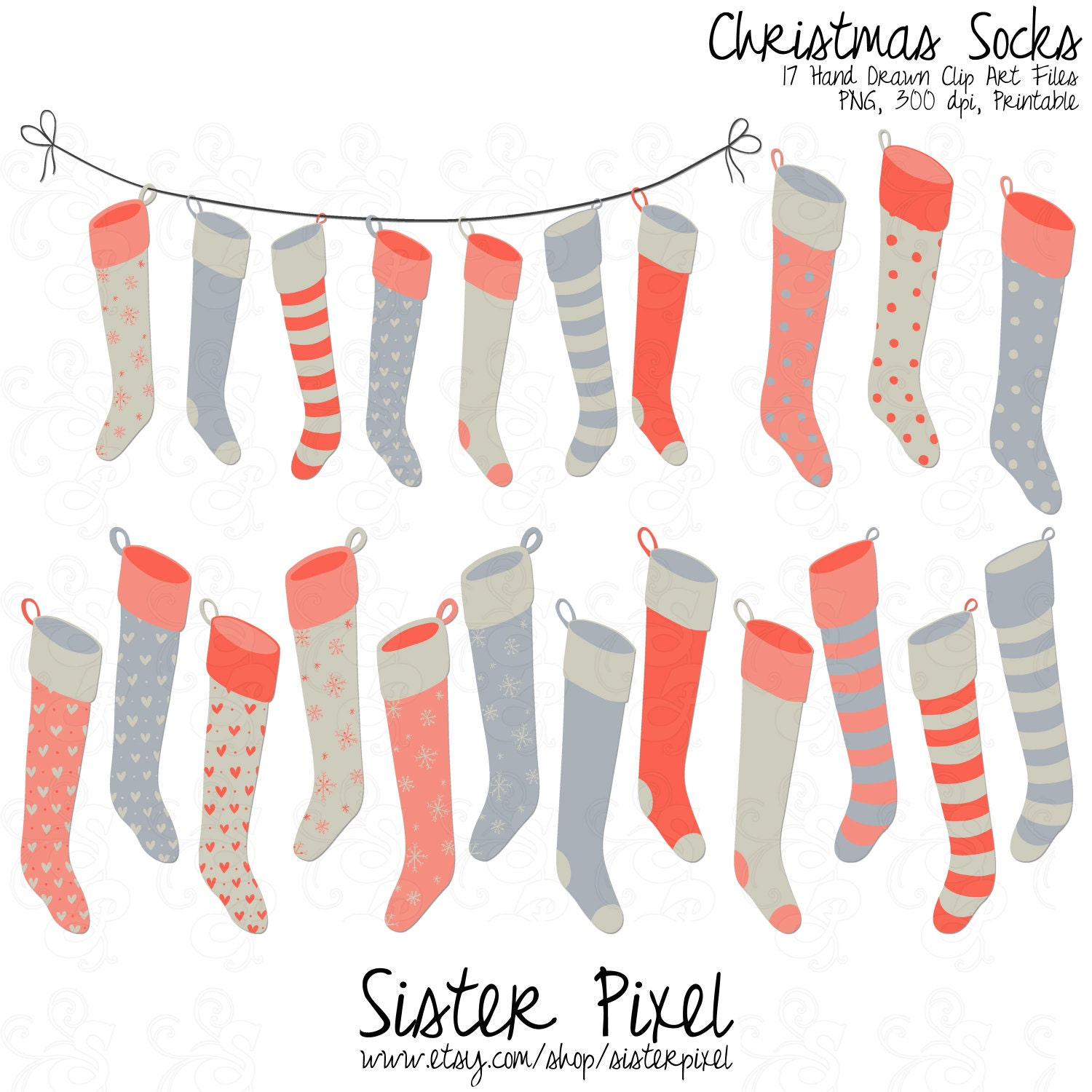 Christmas Stockings Clipart Free Il Fullxfull Fpx