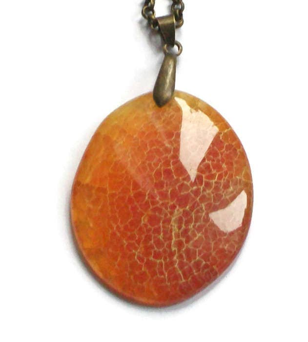 Amber Agate Gemstone Pendant Necklace Antique Bronze Chain Necklace Orange Statement Necklace