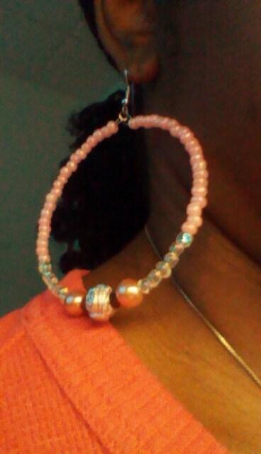 "Rose Pink and Iridescent Pearl Beaded Hoop Earrings: ""Flower Bomb"""
