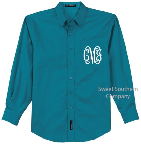 Monogrammed oxford shirts for bridesmaids