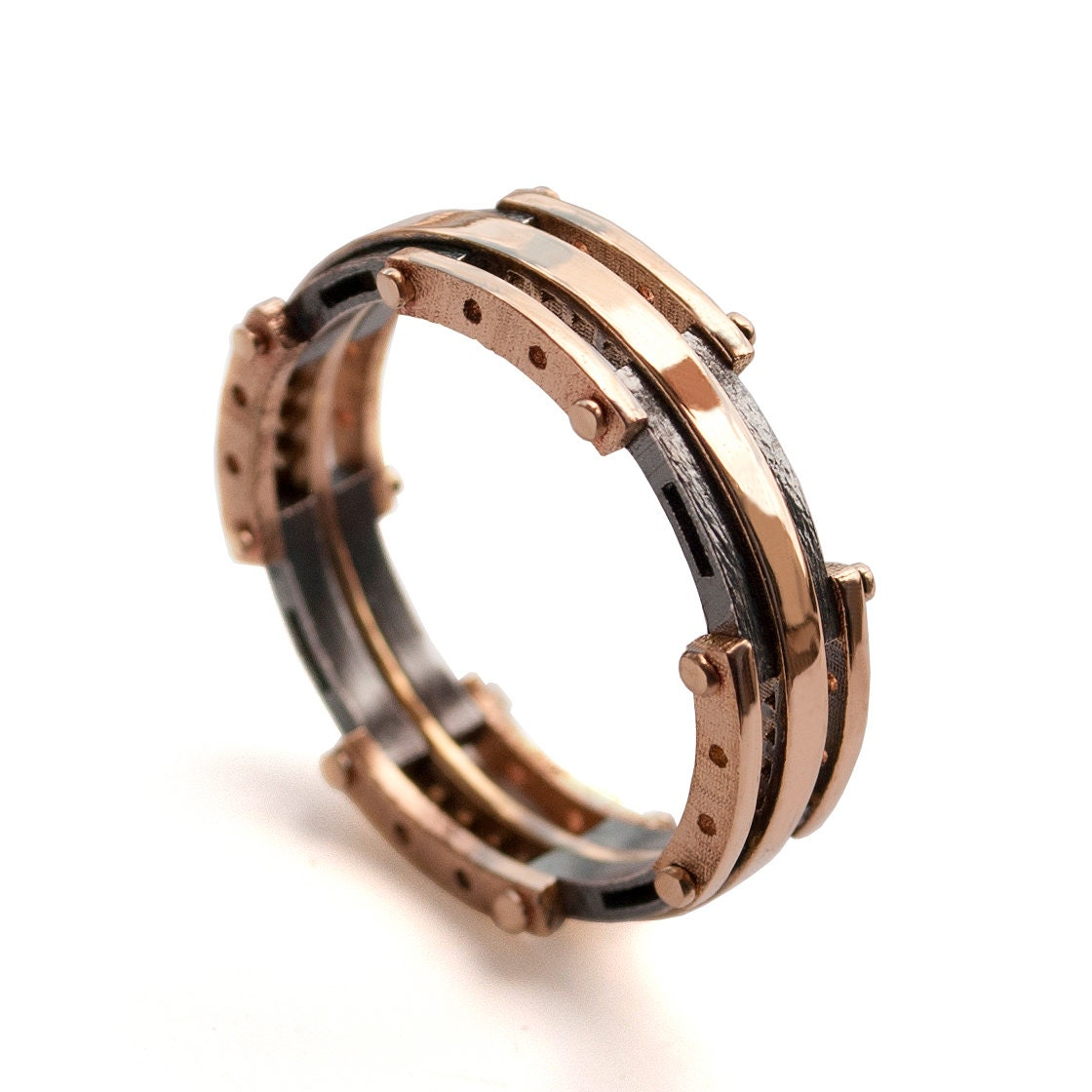 Gold Wedding Band Men 39 S 18K Rose Gold And Oxidized Silver Wedding
