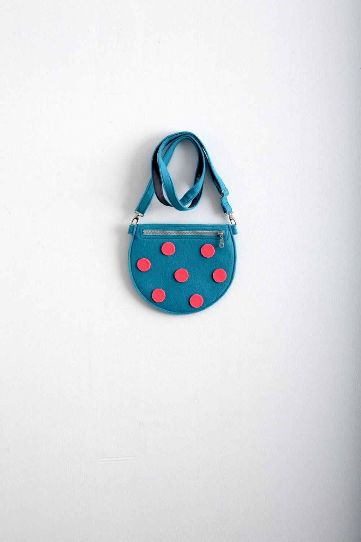 Turquoise Felt Bag Purse Polka Dot Bag Kawaii Cute Bag Mini Cross Body Bag Neon Blue Neon Pink Fun Hipster Style Gift Idea Aqua Blue - Marewo