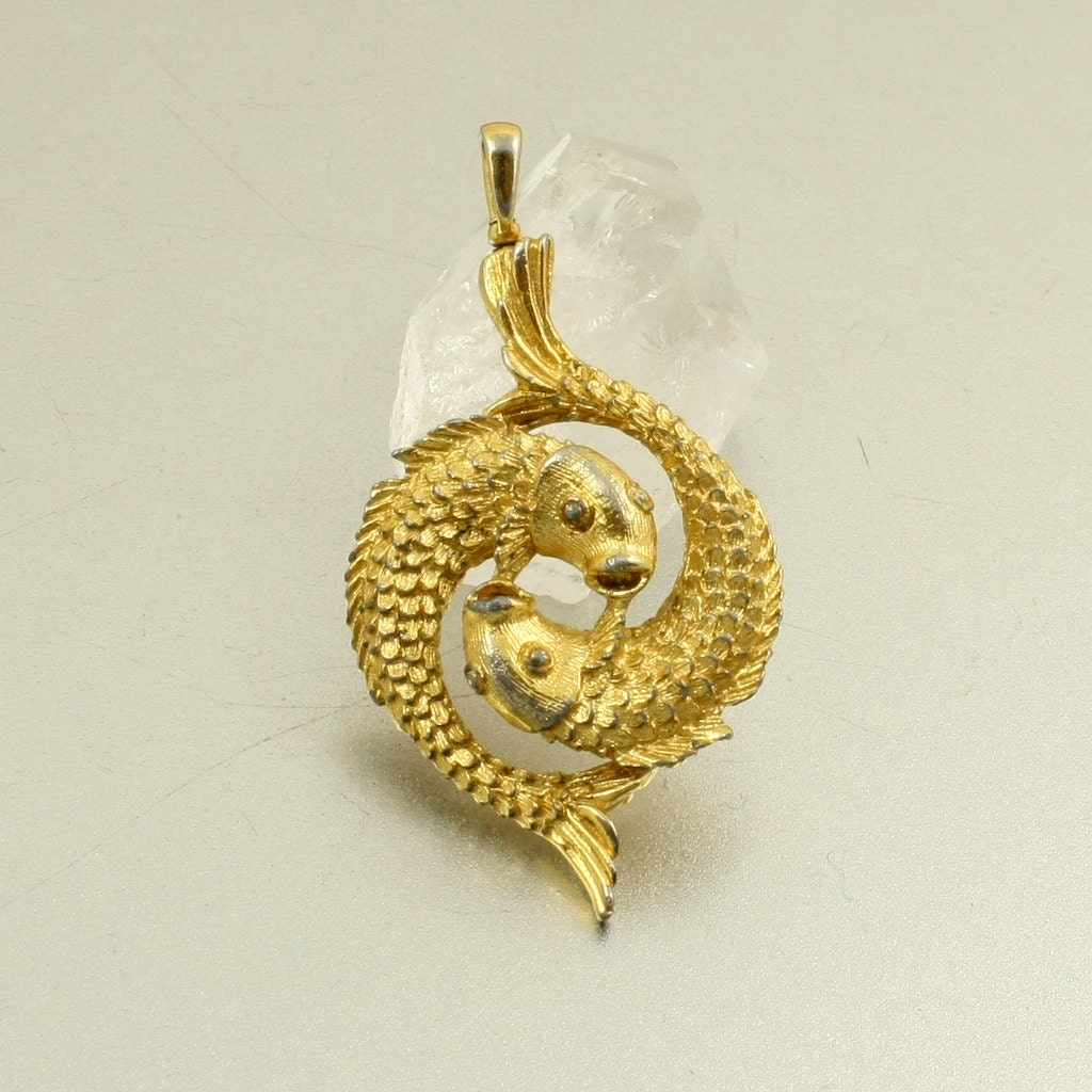 Vintage koi fish pendant carp pendant gold tone by mybooms for Gold fish pendant