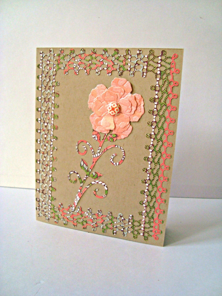 Single Peach Flower handmade card lace border all by Wcards