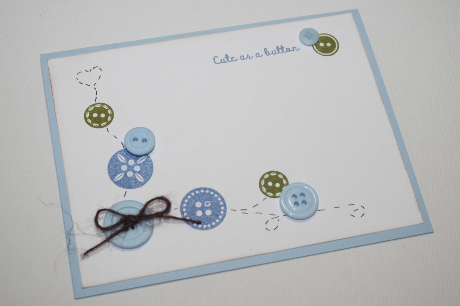 cute as a button baby boy shower invitations blue and green set