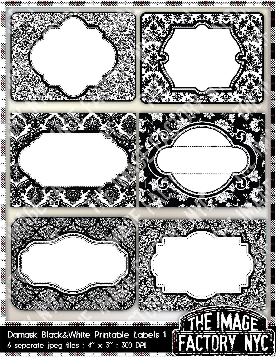 Black and White Damask Printable Labels & by TheImageFactoryNYC
