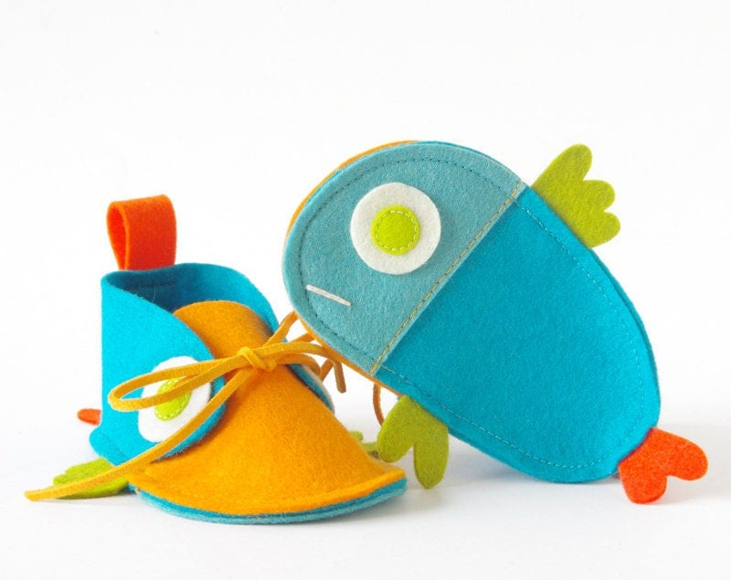 Guppies baby shoes, turquoise & orange tropical fish-like baby booties, infant slippers, newborn baby gift crib shoes