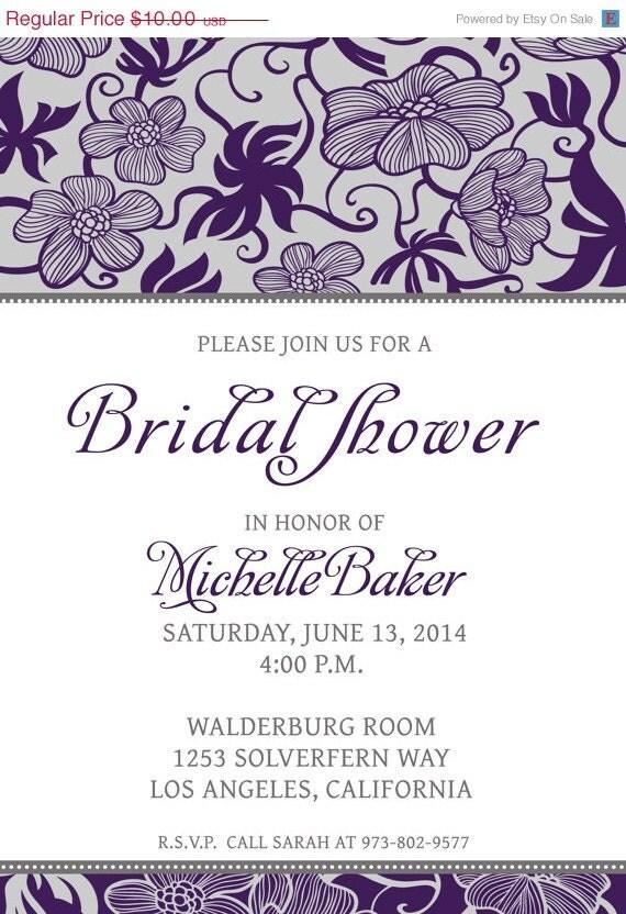 ... - Silver Gray - Foliage Print - Digital Bridal Shower Invitation