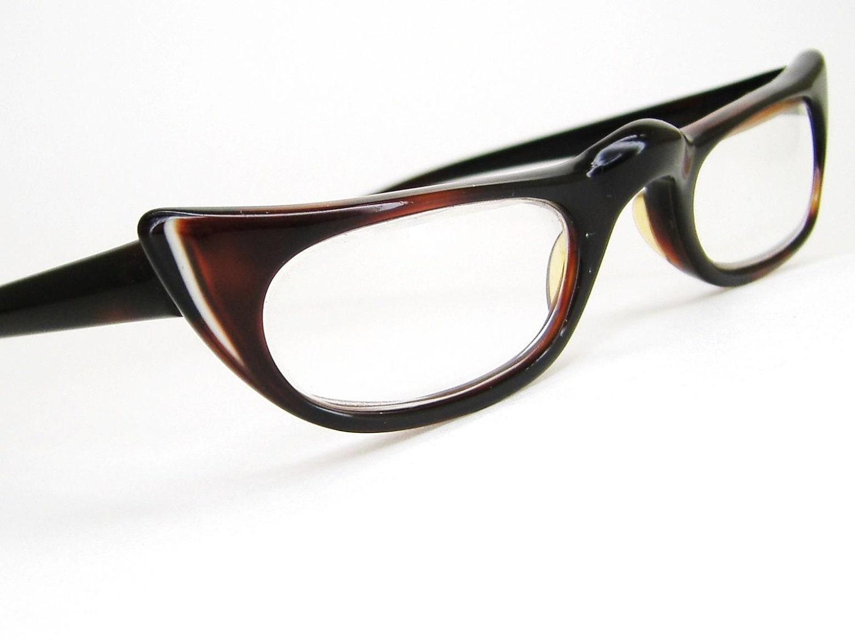 Large Framed Cat Eye Reading Glasses : Vintage Brown Cat Eye Reading Glasses by Vintage50sEyewear ...