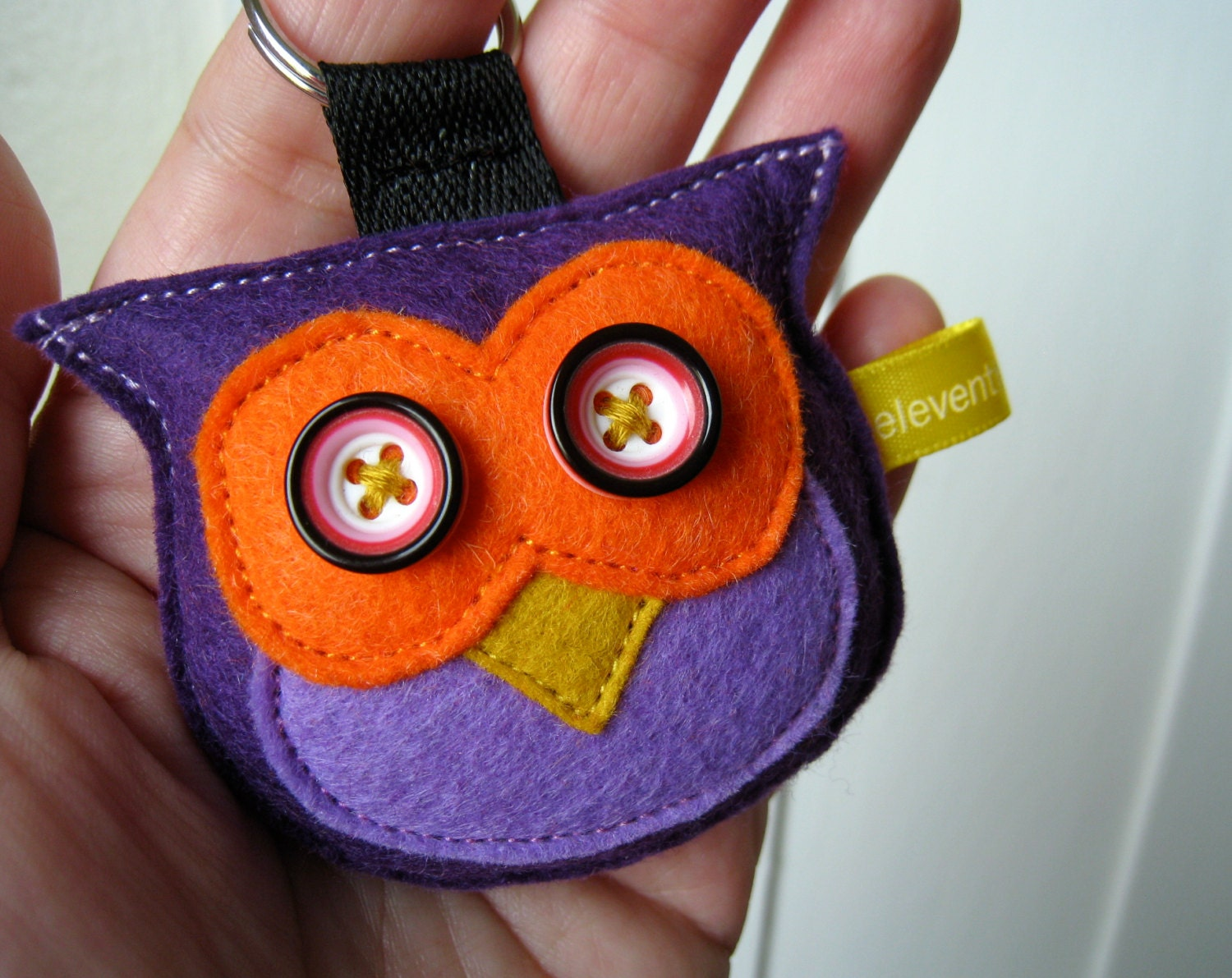 Owl Plush Keychain - Purple, Orange and Yellow Felt Owl