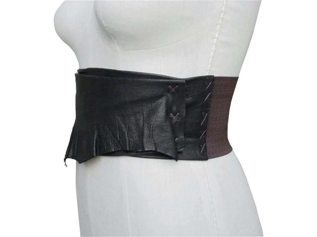 black leather wide belt stretch belt corset belt by manobello