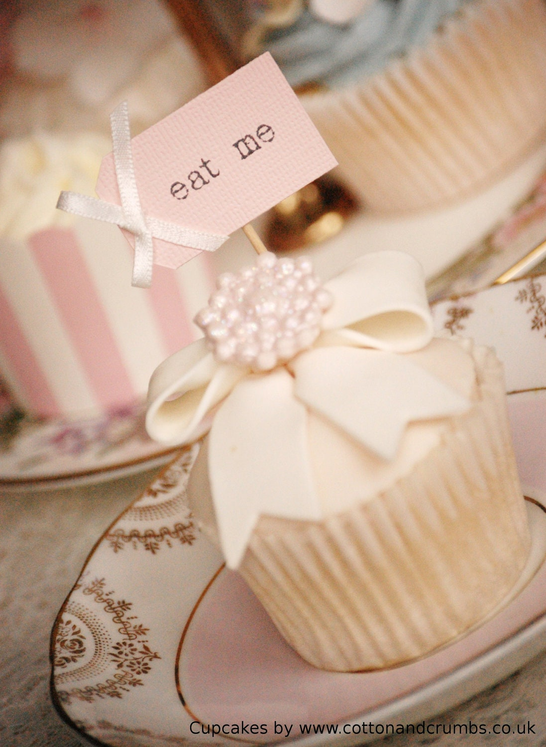 Eat Me Party Picks - blush pink and ivory bows