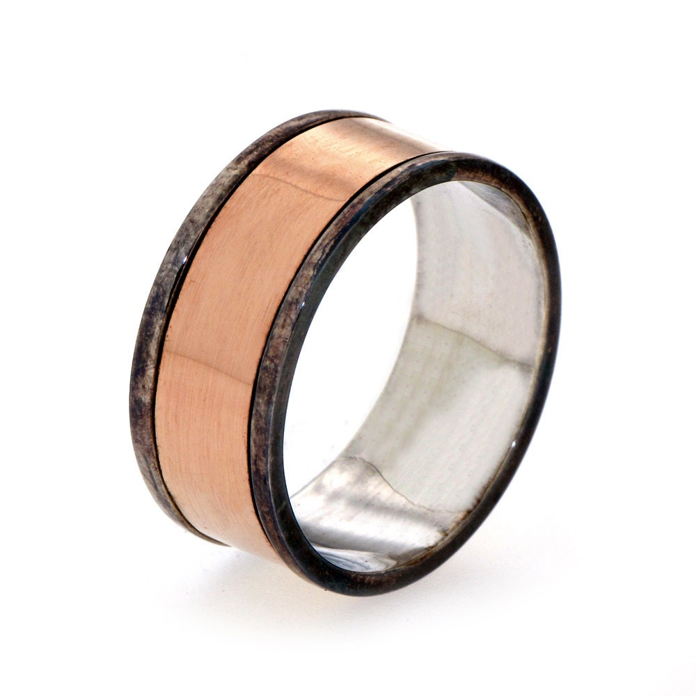 Items Similar To Unique Mens Wedding Band 14k Rose Gold Wedding Band Mens Gold Band Wedding