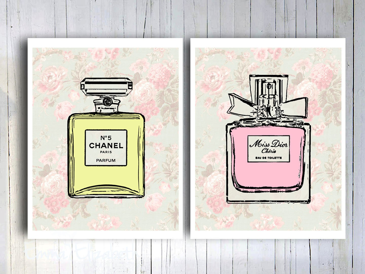 Cottage Bathroom Wall Decor : French perfume cottage chic wall decor mixed media by