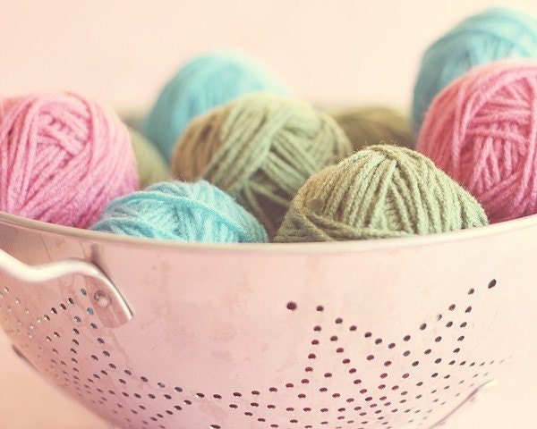 pastels, blue, green, pink, yarn, craft room wall art, 8 x 10 photography, home decor - alifethroughthelens