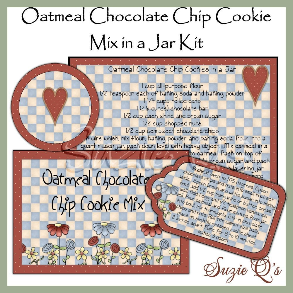 This is a picture of Geeky Chocolate Chip Cookies in a Jar Printable Tags