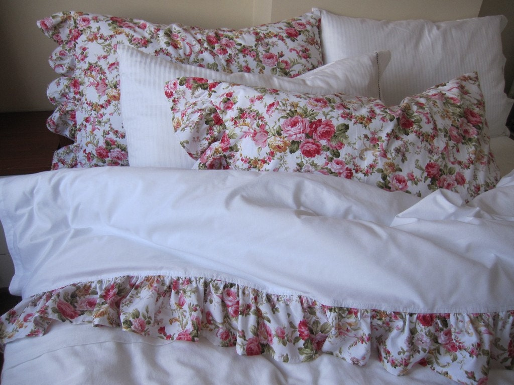 Ruffled Sheet White Shabby Chic Pink Red Floral Queen Bed