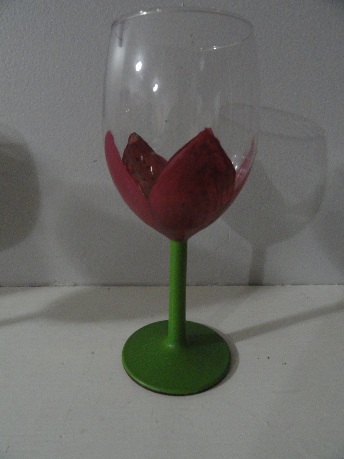 hand painted flower wine glass by jayleecrafty on etsy