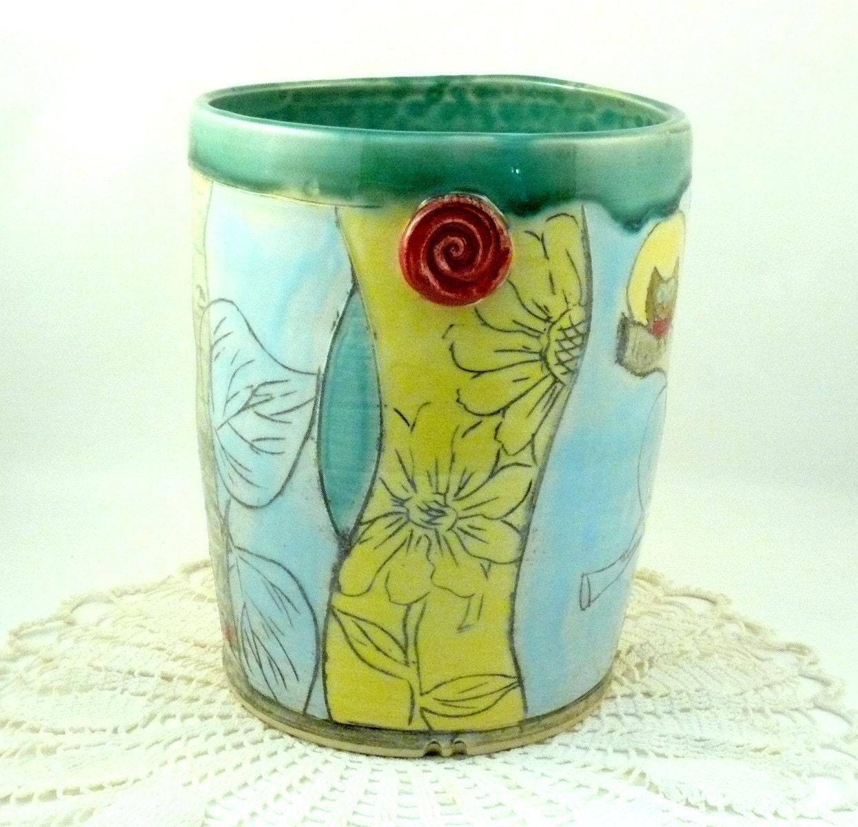 Ceramic Utensil Holder in woodland design - ice bucket or wine bottle holder - BlueSkyPotteryCO