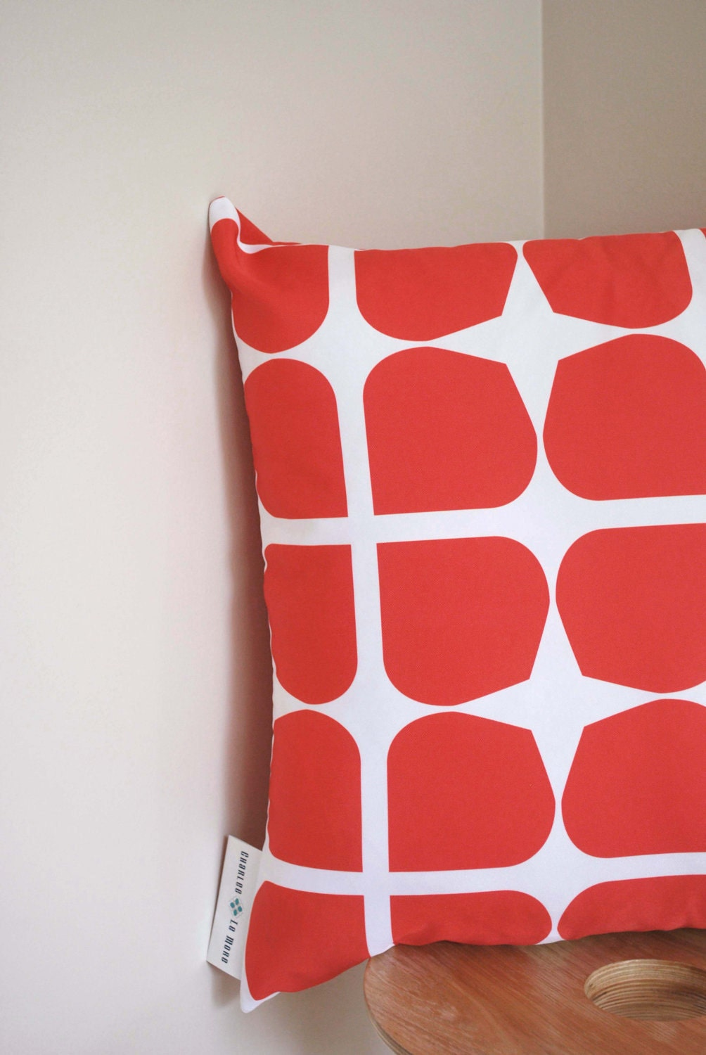 Red Gem Cushion Cover- A retro style pattern in a bold red - CharleeLeMore