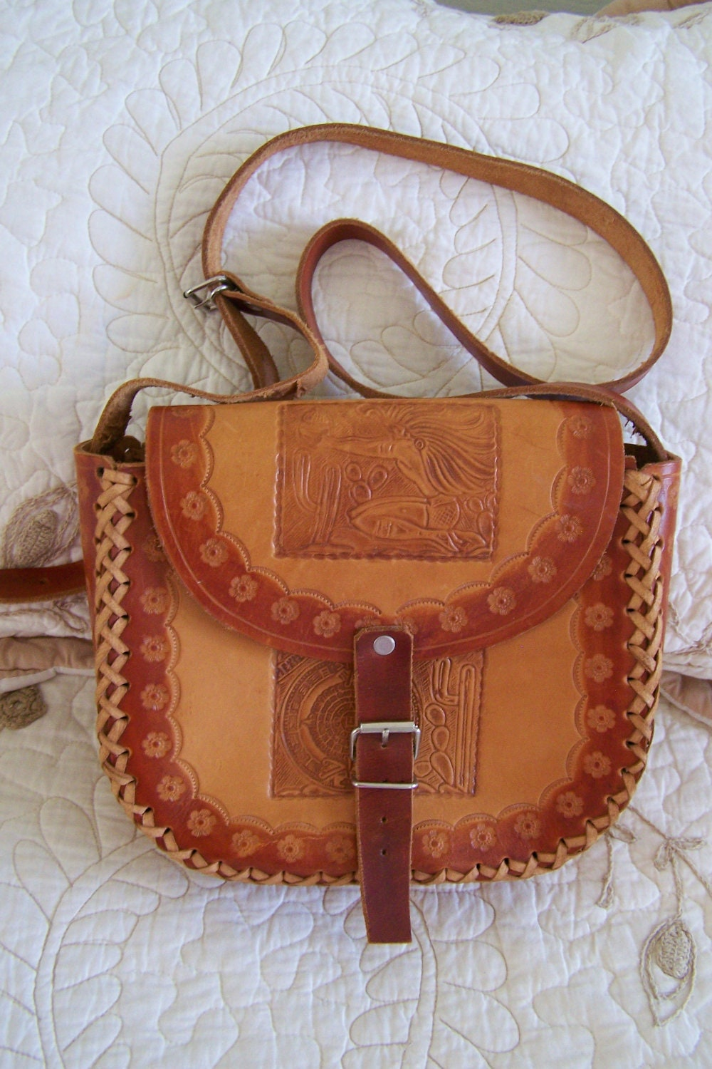 "Vintage 70's ""SADDLE BAG' Hand Tooled Leather Purse Over-the-Shoulder Strap"