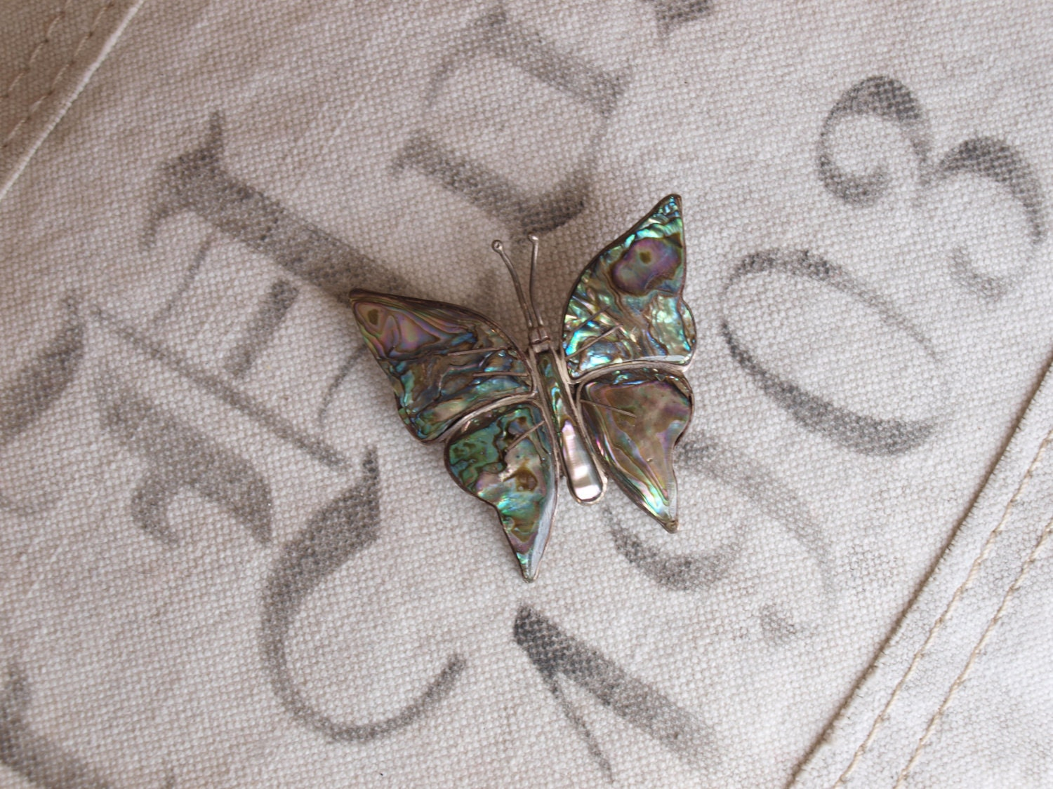 Vintage Sterling and Shell BUTTERFLY PIN