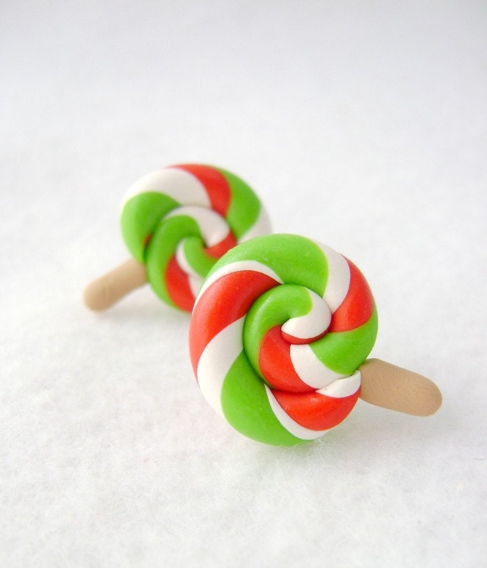 Christmas Lollipop Earrings, Polymer Clay