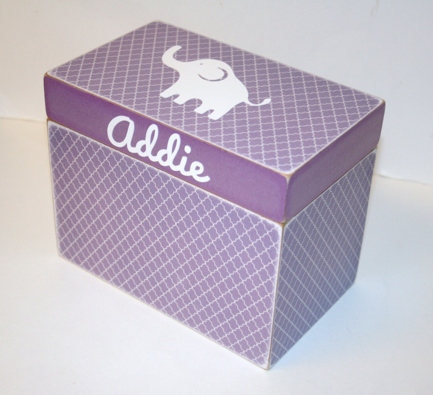 baby shower card box purple elephant handmade 4x6 wooden baby card