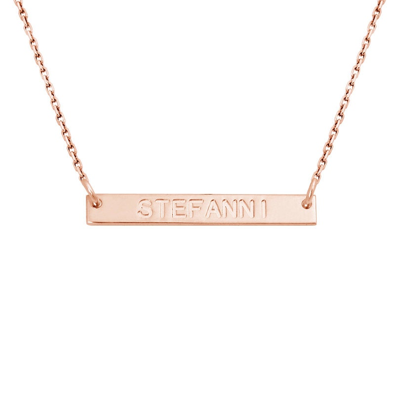 on sale horizontal bar name necklace 18k gold plated