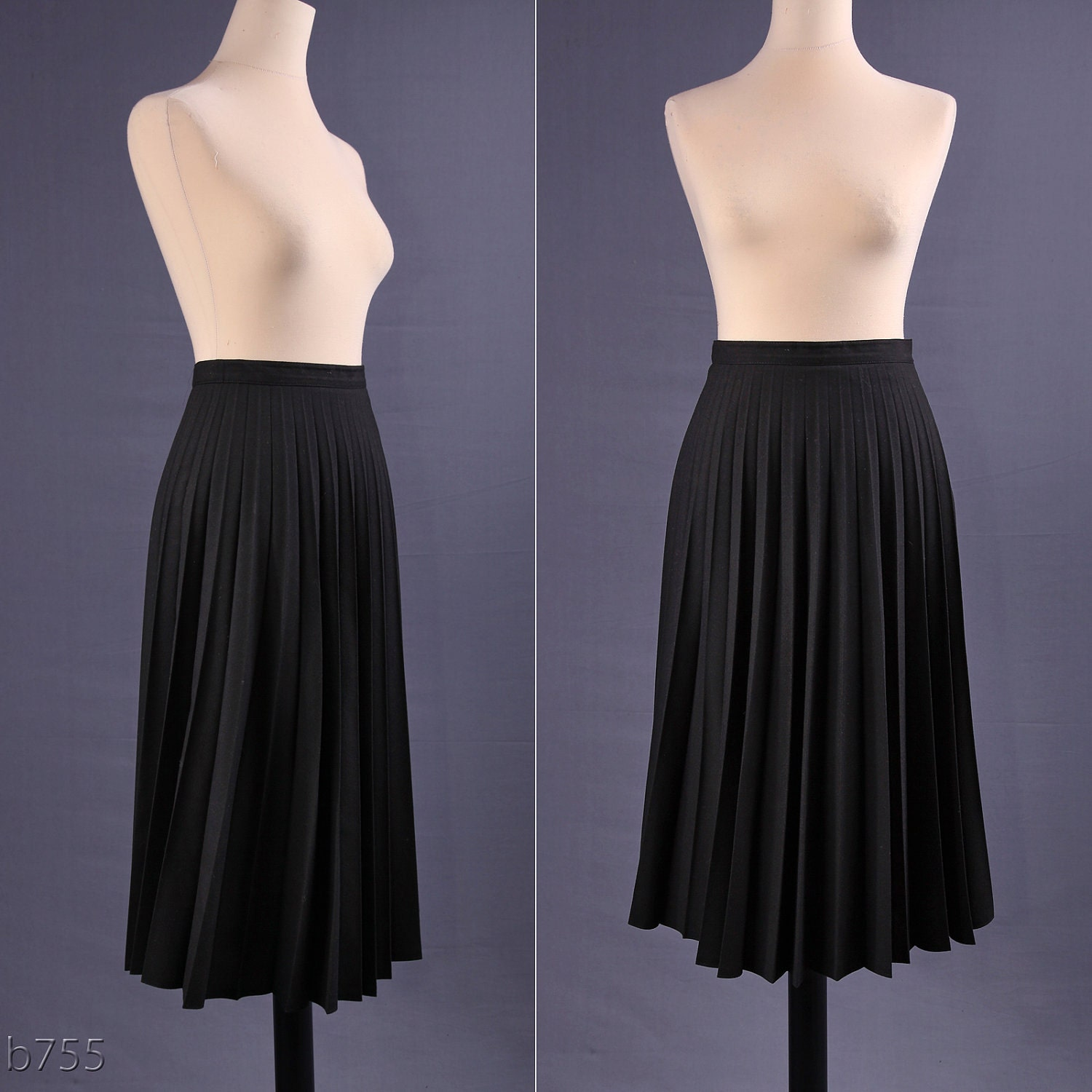 80s black midi skirt accordion pleated skirt m by