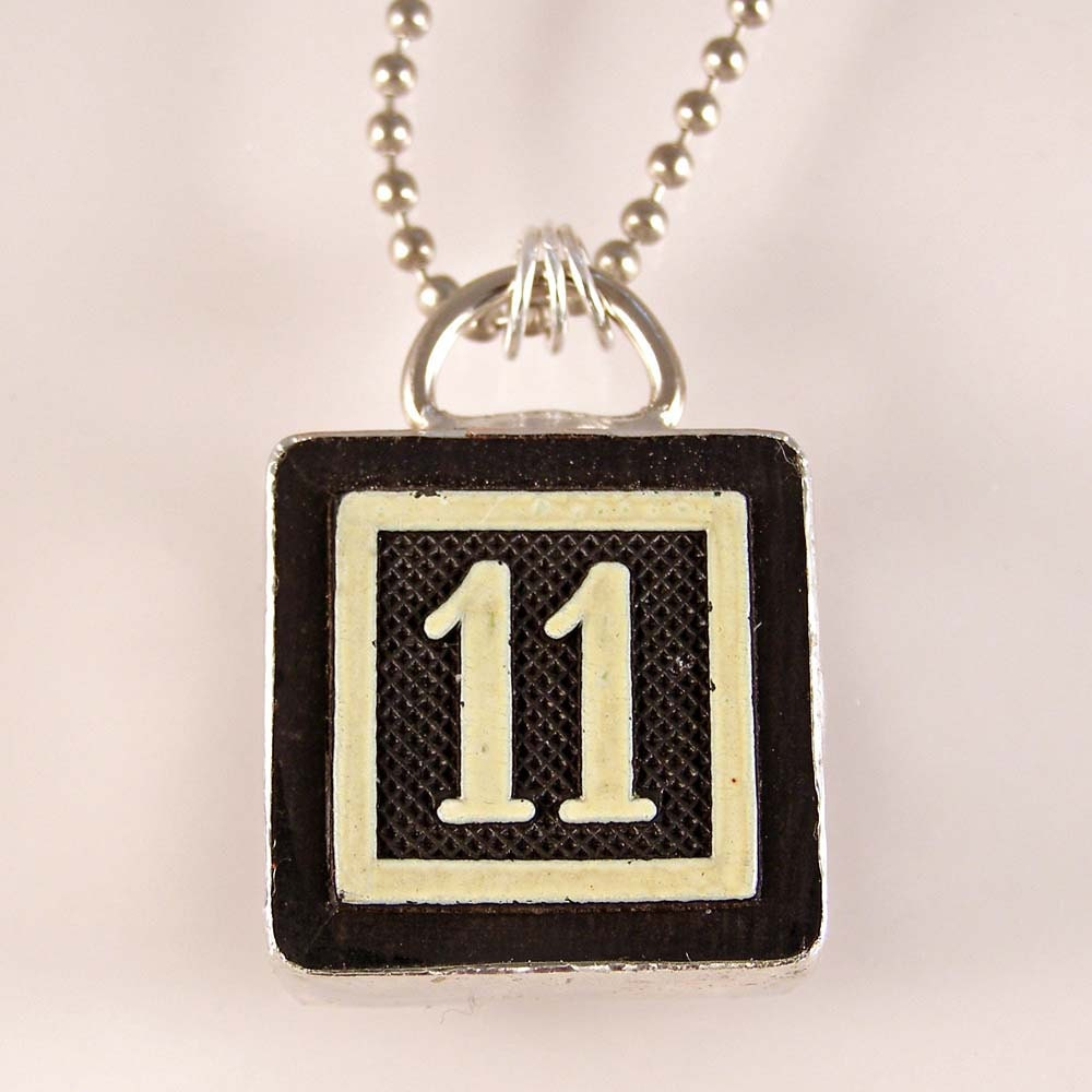 number 11 pendant by xohandworks on etsy