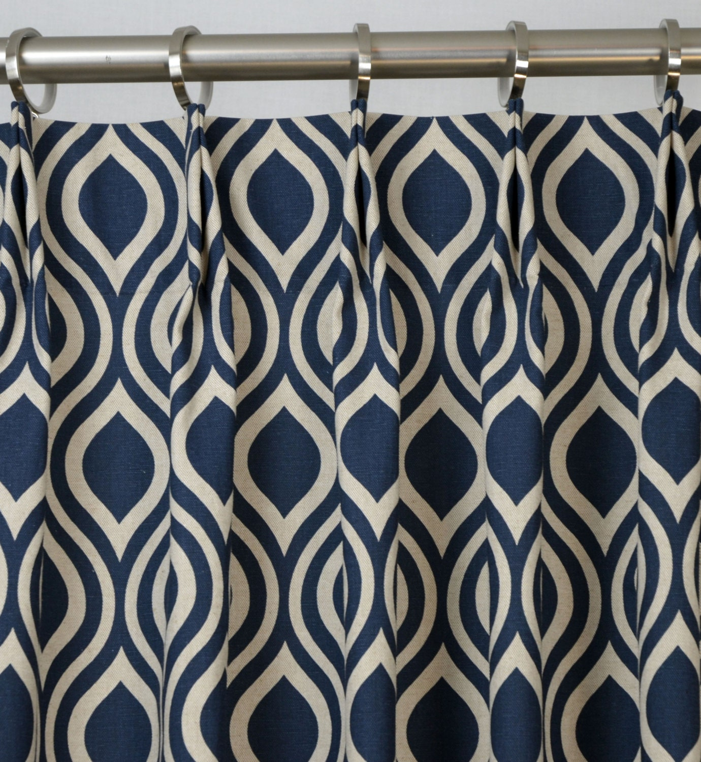 Pair Of Pinch Pleat Top Curtains In Nicole Indigo By