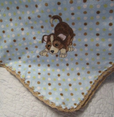 Set of two embroidered cotton flannel baby blankets