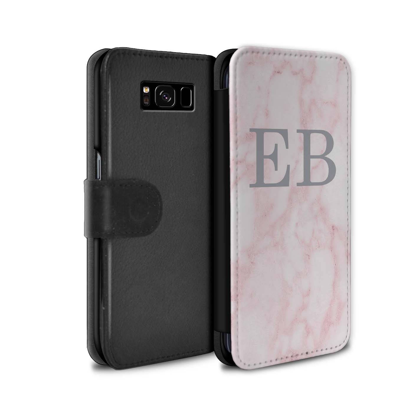 Pink Marble Silver Font initial Personalized Custom Wallet Flip Phone Case Samsung Galaxy S5 S6 Edge S7 Edge S8 S8 Plus