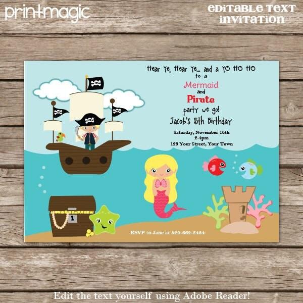 pirate amp mermaid invitation editable text by printmagic on