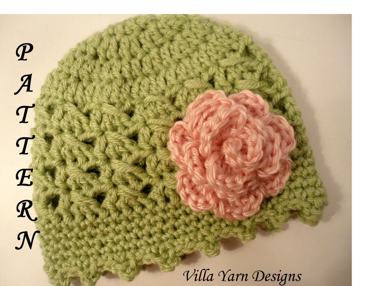 Crochet Pattern For Baby Flower Headband : Crochet Baby Hat Pattern with Flower Baby Girl by ...