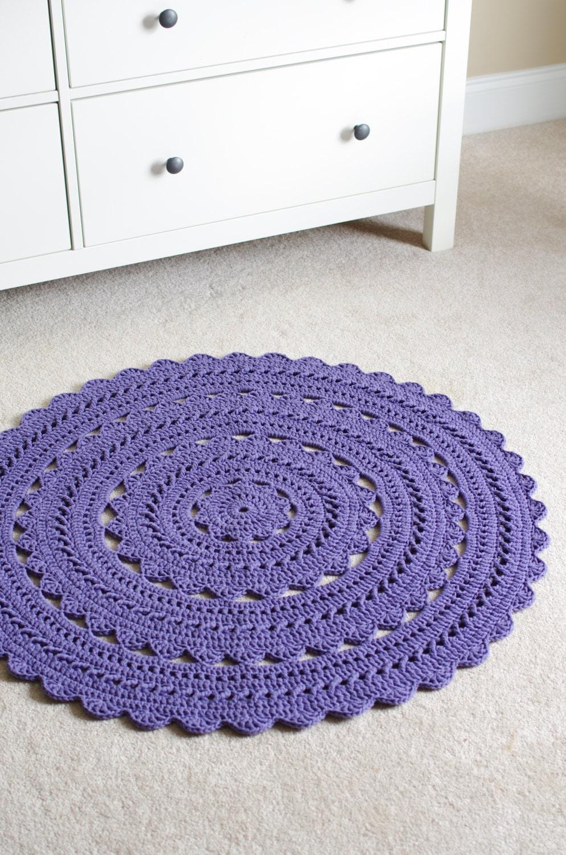 Crochet Doily Rug SARA Plum Round 35 / 89cm by hennasboutique