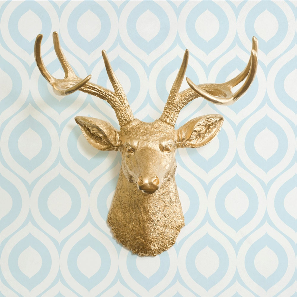 The Virginia In Gold Faux Deer Head Fake Animal By