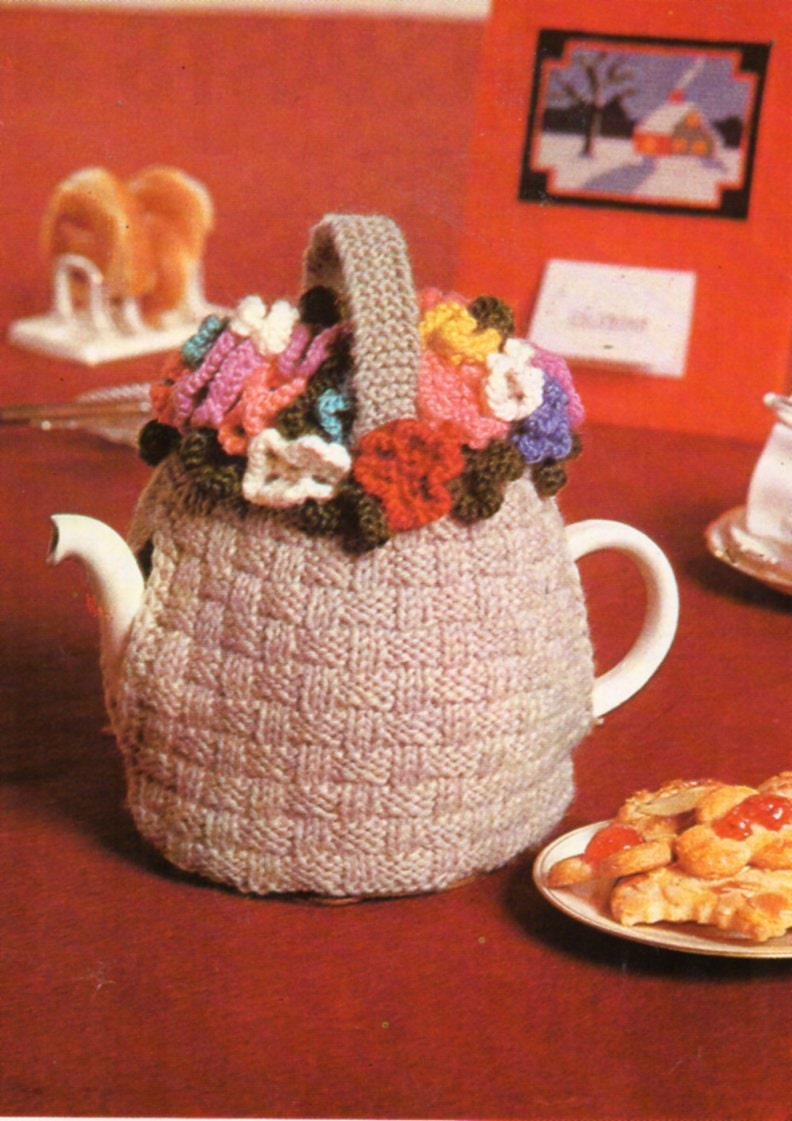 Vintage flower basket tea cosy cozy knitting pattern PDF flowers tea cozy flowery tea cosy novelty tea cosy DK light worsted 8ply Download