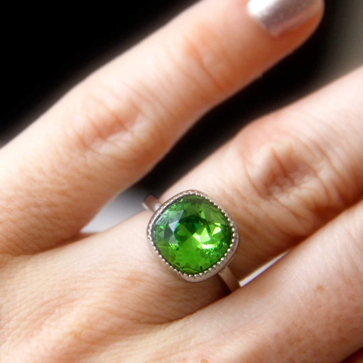 Emerald Green Cusion Ring, Swarovski Green Crystal, Square Crystal (15487)