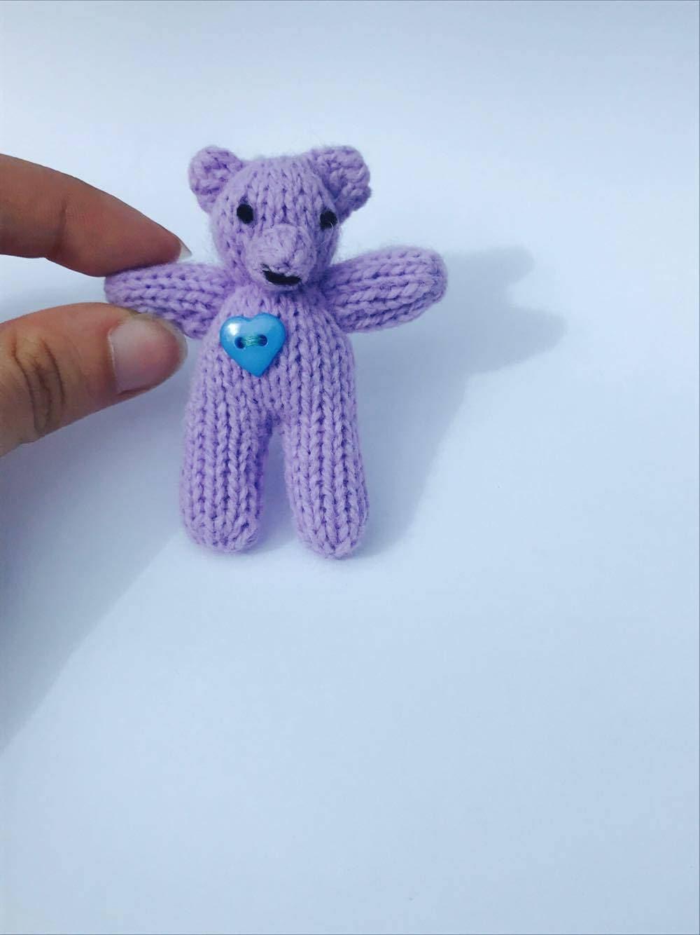 Mini Purple Teddy Bear  Knitted  7.5cm Purple with Blue Heart Button