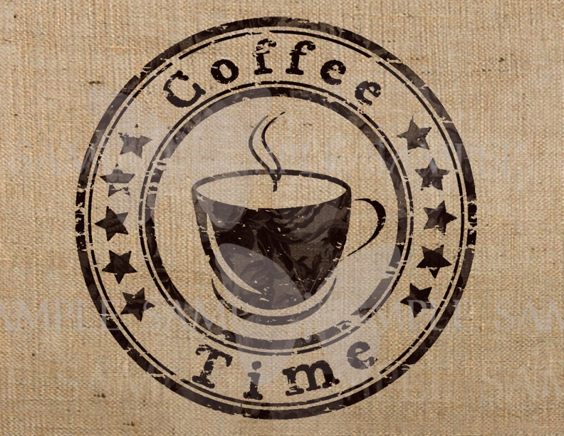Coffee Time Image Download iron on - Transfer on fabrics Pillows Totes burlap Towels - GraphicsAndMore