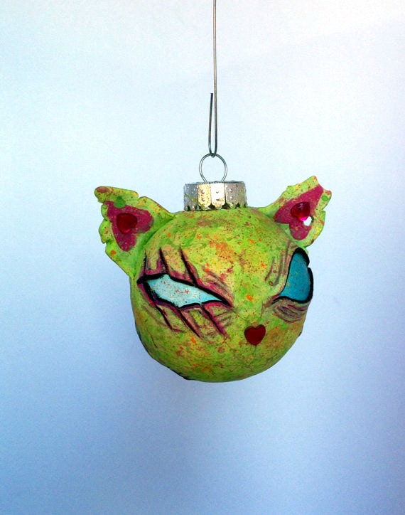 "SALE Mini Zombie Kitty ""Squint"" Christmas Ornament FREE SHIPPING"