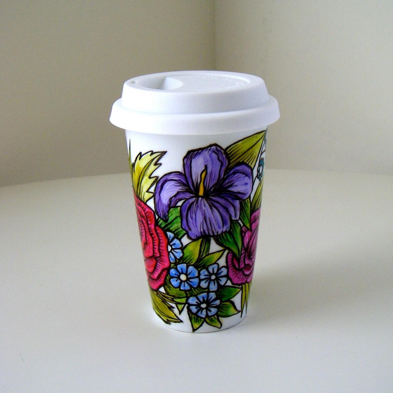 Ceramic Coffee Travel Mug Painted Flower Garden By Sewzinski