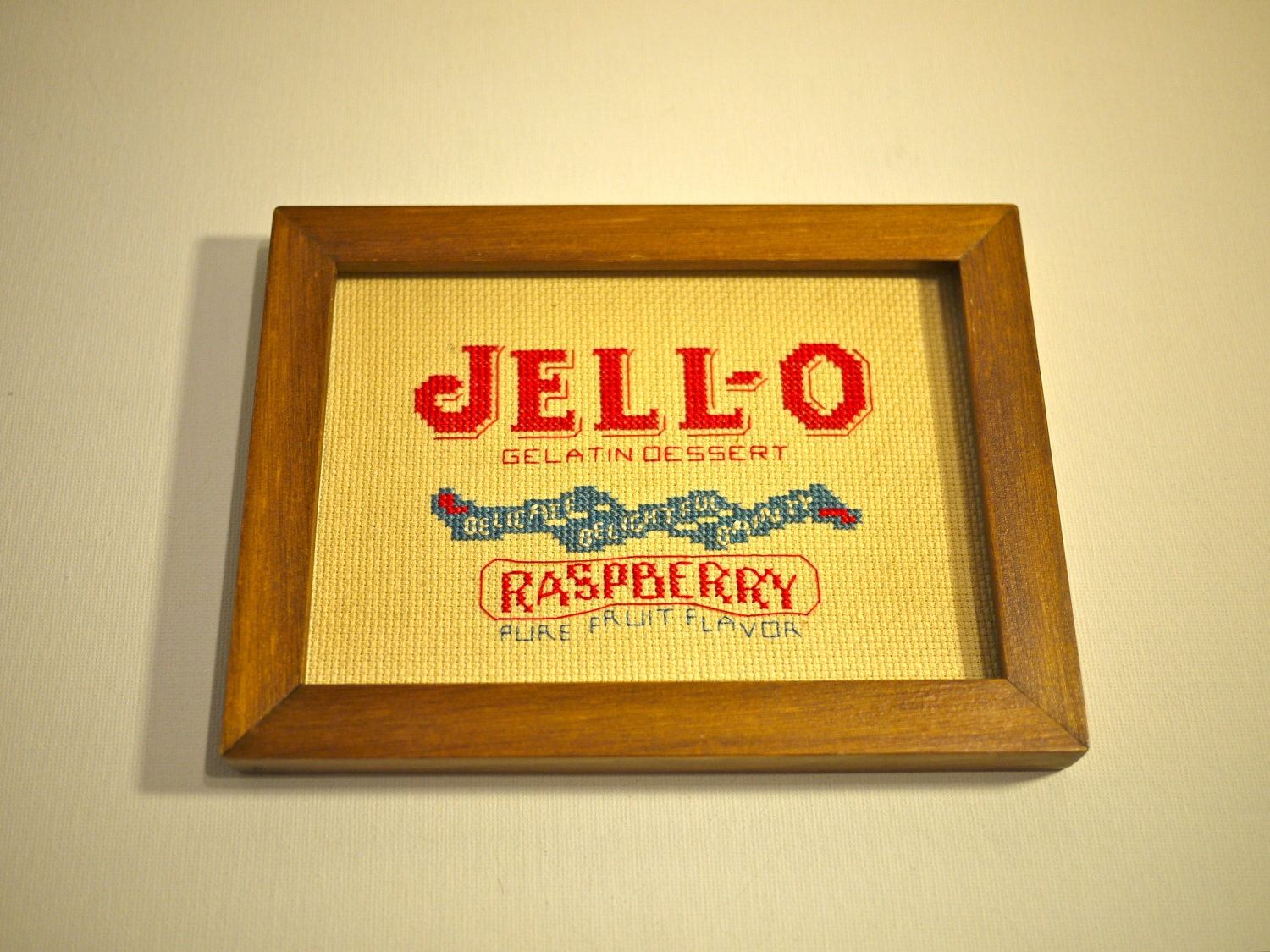 Vintage JELL-O Handmade Framed Cross Stitch