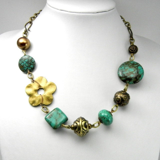 Hand Made Turquoise and Bronze Necklace - Adjustable with Hooks