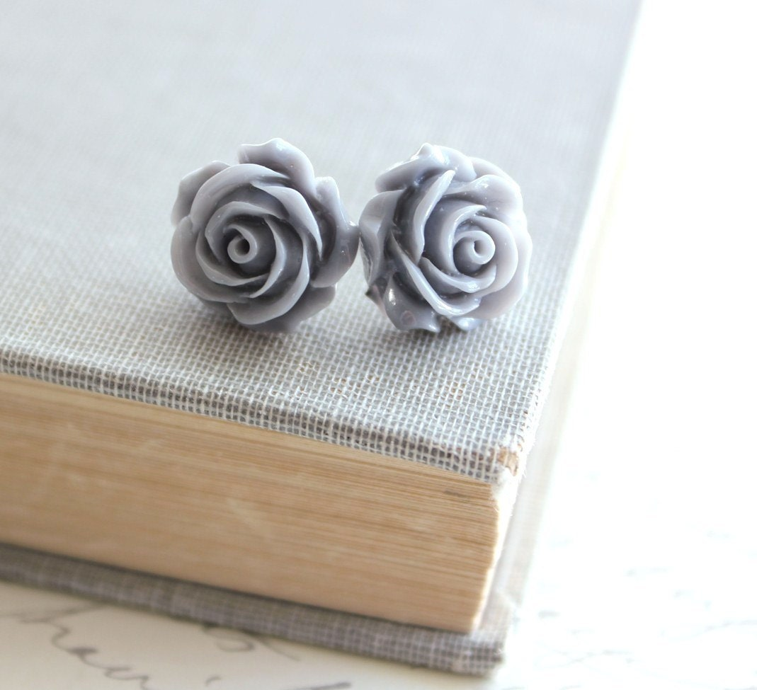 Rose Stud Earrings, Sea Fog Grey,  Slate Grey Titanium, Bridesmaids Jewelry, Floral Spring, Resin Flower, Shabby Chic, Bridal, Post Earrings - apocketofposies