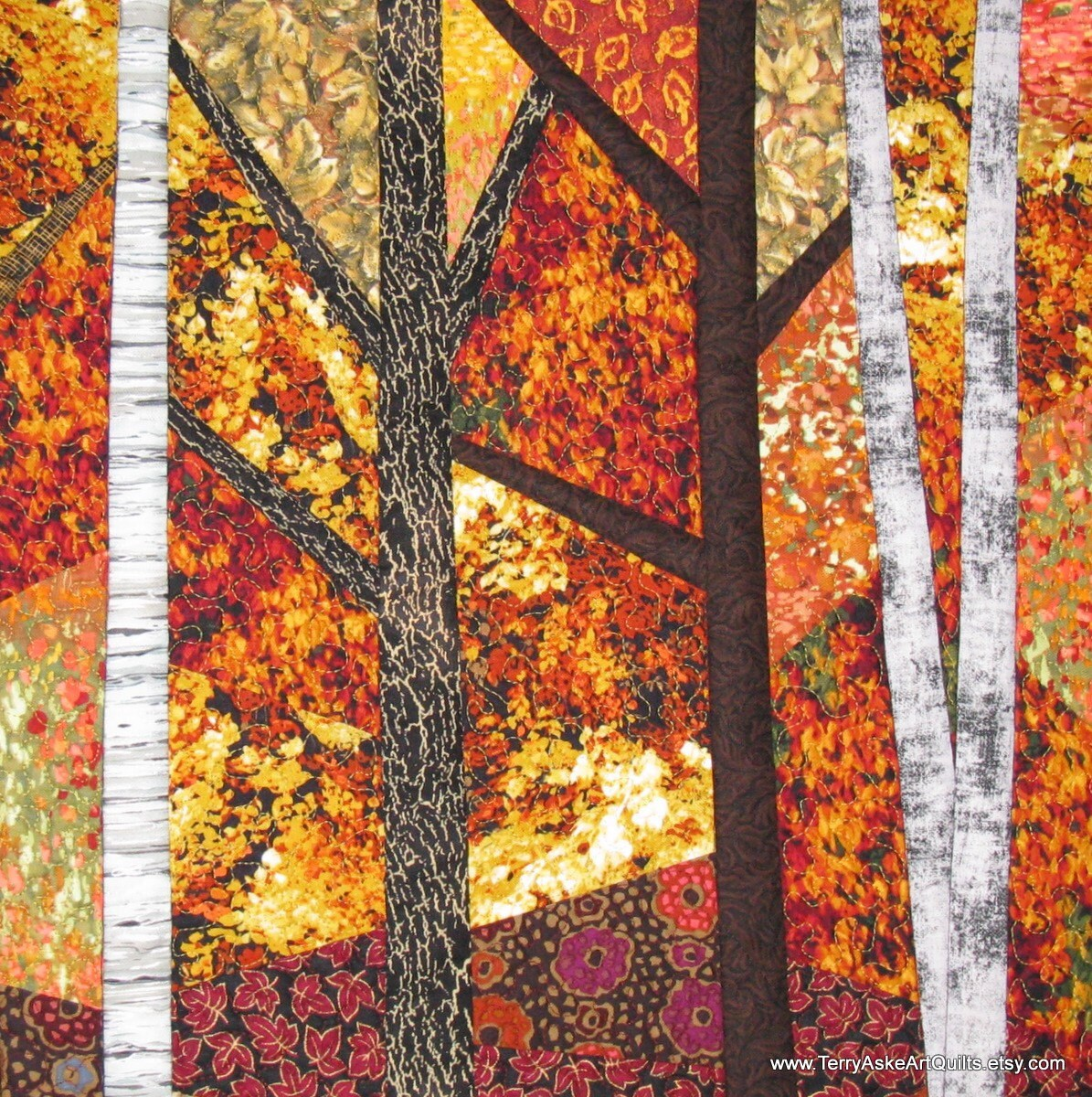 Art Quilt Wall Hanging Blazing Autumn Trees By