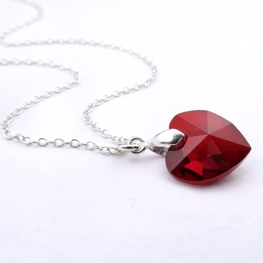 Ruby Necklace Crystal Heart Birthstone Necklace With Ruby Crystal Pendant Sterling Silver Swarovski Elements Heart Crystal Ruby Necklace