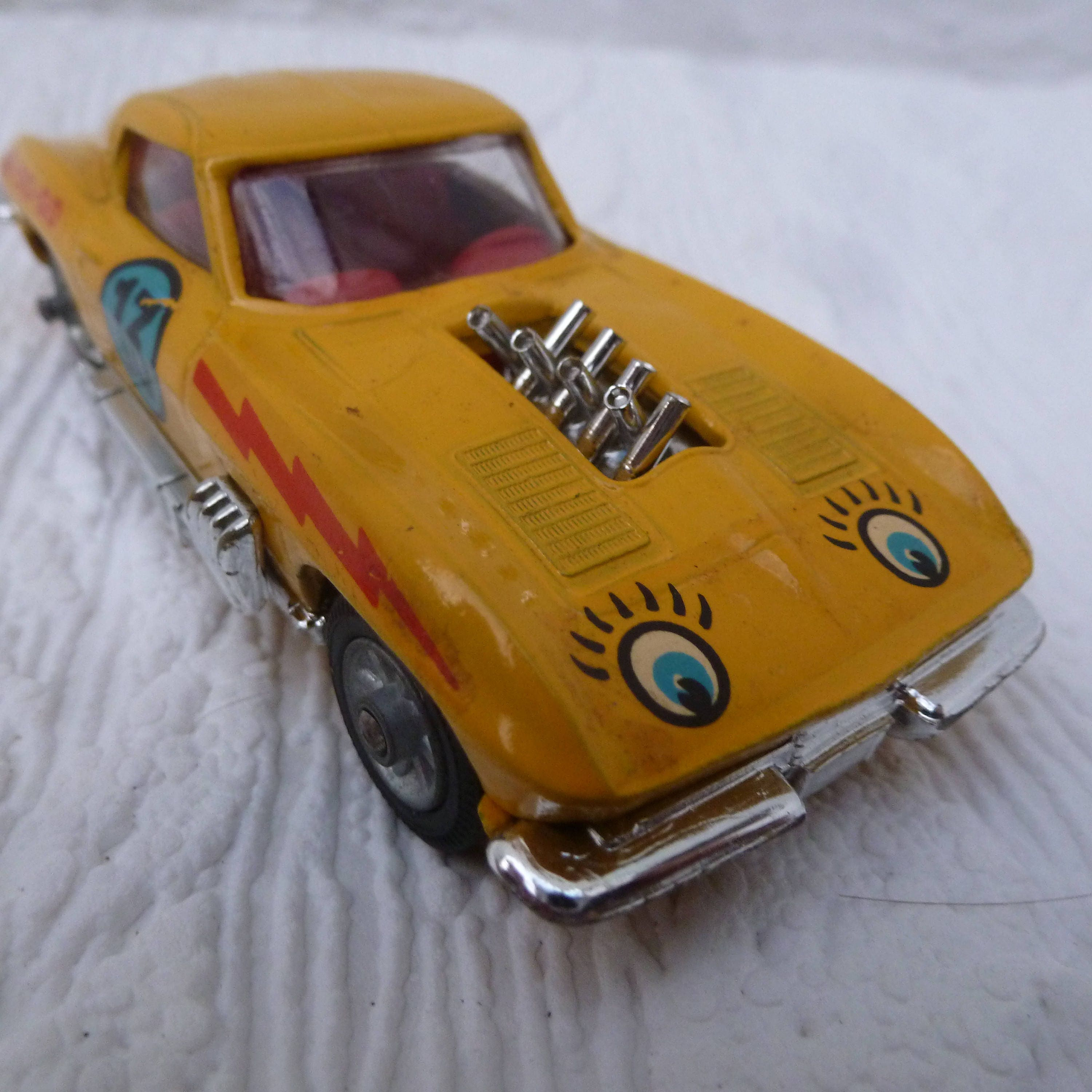 Yellow toy vehicle car 1960s corgi model car gift for him present Made in England car toy vintage collectors corgi vehicle sting ray retro.